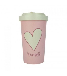 Kubek z bambusa, 500 ml, LOVE YOURSELF white, WoodWay