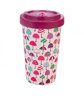 Kubek z bambusa, 500 ml, UMBRELLAS PURPLE, WoodWay